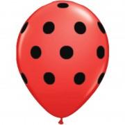 Baloane latex rosii inscriptionate Big Polka Dots Negre, Radar GI.DOTS.ROSU-NEGRU