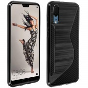 Avizar S-Line Funda de Silicona Flexible Negra para Huawei P20