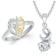 VK Jewels Solitaire Pendant & Heart Ring Gold and Rhodium Plated Alloy Combo with Chain for Women & Girls made with Cubic Zirconia - COMBO1477R [VKCOMBO1477R8]