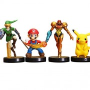 Japanese Anime Figure Game Super Mario, Pikachu, The Legend of Zelda, Link Samus Aran PVC Action Figures 4pcs/set 10cm