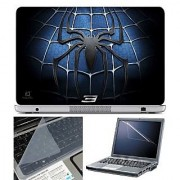 FineArts Laptop Skin Spiderman 3 Blue With Screen Guard and Key Protector - Size 15.6 inch