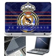 FineArts Laptop Skin FC Real Madrid With Screen Guard and Key Protector - Size 15.6 inch