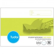 TUDOR NL832 NSW RULING WRITING PAD 32 PAGE 8MM DOUBLE RULED/GUIDELINES 175 X 240MM LIME PACK OF 20