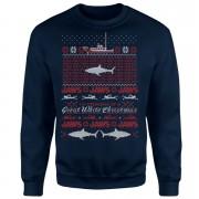 Jaws Great White Christmas Sweatshirt - Navy - XL - Navy
