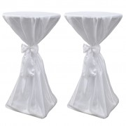 vidaXL Biely návlek na stôl so stuhou, 70 cm, 2 ks