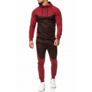 OneRedox Jogging Suit Sport Set Tracksuit Pants & Hoodie Sweater Red 1210C 52008-2