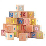TOYMYTOY 26pcs Wooden ABC Letter Blocks Alphabet Block Educational Toy for Baby Infant Kids