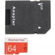 ER 64GB Tarjeta De Memoria Secure Digital De Alta Velocidad Con Adaptador TF Cámara Teléfono -Rojo