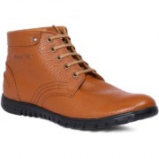 Red Chief Tan Men High Ankle Outdoor Casual Leather Shoes (RC3508 006)