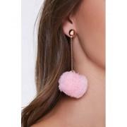 Forever21 Pom Pom Drop-Chain Earrings GOLDPINK