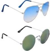 Zyaden Aviator, Round Sunglasses(Blue, Multicolor)
