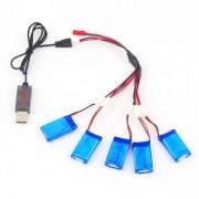 ER Nuevo 5x3.7V 380mAh Batería De 2 A 5 Cable De Carga USB Quadcopter