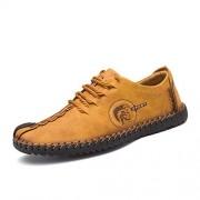 Asifn Hombre Sandalias Mocasines Cuero Zapatos Deporte Senderismo Trekking Transpirable Verano Oxford(Amarillo,25.5 MX,25 CM del talón a la Punta