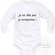 SiMEDIO Body bébé message : je ne râle pas, je m'exprime ! - Blanc Longues 18-24 mois
