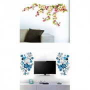 Set of 2 - WallTola Wall Stickers Blue TV Background and My Blossoms Love Wall Stickers
