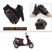 AutoStark Gloves KTM Bike Riding Gloves Orange and Black Riding Gloves Free Size For Mahindra Duro