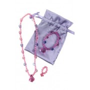 Pastel Princess Dress up Jewelry Set (Necklace, Bracelet, and Ring in a Lavender Satin Bag). Great E