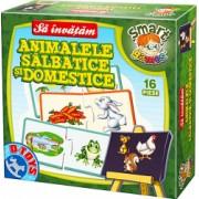 Puzzle 16 piese Sa invatam Animalele Salbatice si Domestice