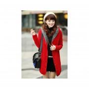 Suéter largo con capucha estilo coreano y elegante de color rojo