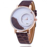 Ansh Max-Re Round Dial Brown Leather Strap Analog Watch for women
