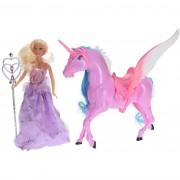 Păpuşă cu unicorn, roz