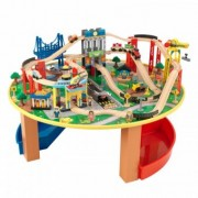 Trenulet din Lemn si Masa de Joaca Happy Kid - City Explorer