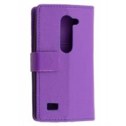 Slim Synthetic Leather Wallet Case with Stand for LG Leon - LG Leather Wallet Case (Purple)