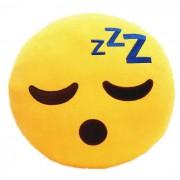 Soft Smiley Emoticon Yellow Round Cushion Pillow Stuffed Plush Toy Doll (Sleepy)