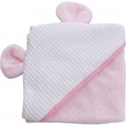 Bubaba ručnik s kapuljačom s ušima 100x100 cm rozi