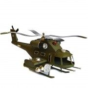Macheta elicopter de lupta apache verde din metal