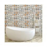 Ambiance Sada 60 nástěnných samolepek Ambiance Wall Decal Cement Tiles Azulejos Vincinda, 10 x 10 cm