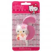 Lumanare cifra 6 Hello Kitty 3D
