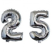Birthday Party 25 Number Foil Balloon Silver Colour