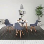vidaXL Set masă și scaune de bucătărie, alb și gri deschis, 5 piese