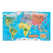 Janod hartă din lemn MAgnetic World Puzzle English Version 05504