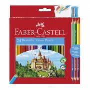 Creioane colorate 24 culori Faber Castell + ascutitoare si 3 creioane bicolore 110324