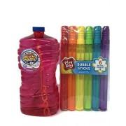 TopspotPL Play Day Bubble Sticks (Set of 6 Assorted Colors)- Super Miracle Bubbles 100 Fl oz. Refill- Bundle