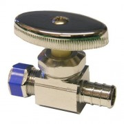 """LASCO 06-7421 Válvula de cierre recto PEX, tubo de 1/2 pulgada x compresión de 3/8"""" cromada"""