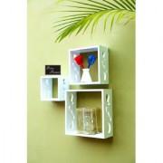 Onlineshoppee Square Nesting MDF Wall Shelf Size(LxBxH-10x4x10) Inch - White