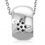 Ezüst színű, csillag mintás nemesacél medál, cirkónia kristályokkal