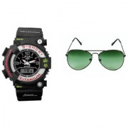 CALIBRO Black mtg Round dial men's watch Green Aviator Sunglass
