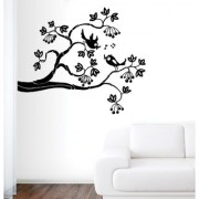EJA Art love bird Black Wall Sticker (Material - PVC) (Pec - 1) With Free Set of 12 pec butterflies sticker