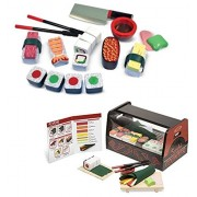 Bundle Includes 2 Items - Melissa & Doug Roll, Wrap & Slice Sushi Counter Toy and Melissa & Doug Sushi Slicing Wooden Play Food Set
