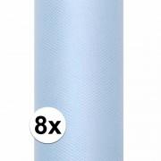 Geen 8x Rollen tule stof lichtblauw 15 cm breed