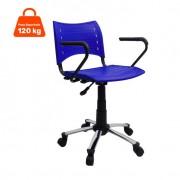Cadeira de Escritório Evidence Giratória com Braço Cromada E Azul