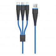 Devia FishBone 3 in 1 Cable - универсален качествен кабел с Lightning, MicroUSB и USB-C конектори (черен-син)