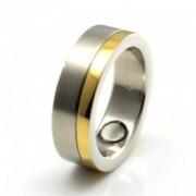 Inel magnetic otel inoxidabil mat placat cu aur cod VOX 8010