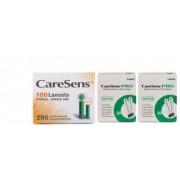 CareSens PRO teste glicemie x 100 buc. + 100 ace, compatibile cu glucometrul CareSens Dual + CADOU gel respiri usor