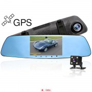 Camera Auto Oglinda Full HD Zenteko Premium cu Tracker GPS SM710 + MicroSD 16Gb, CAR Triple