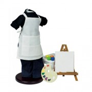 """18 Inch Doll Artist Clothing & Accessory Set, Shirt, Jeans, Apron Smock, Tabletop Easel, Blank Canvas, Palette, Paintbrush, And Pretend Paints, Accessories Fits 18"""" Girl Dolls"""